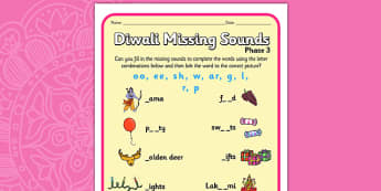 Diwali Missing Sounds Worksheet - hinduism, sound, literacy