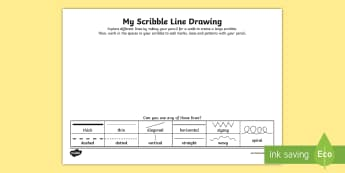 Scribble Line Drawing Activity Sheet - line, line drawing, mark making, freehand, creative, loose drawing, patterns, wavy, straight, thick,