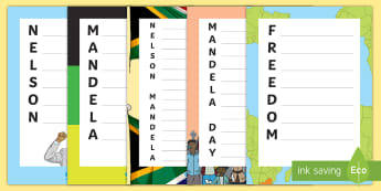 Nelson Mandela Acrostic Poem Writing Frames - Black History, President, South Africa, Prisoner, Mandela Day