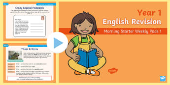 Year 1 English Revision Morning Starter Weekly PowerPoint Pack 1 - Spelling, Grammar, Reading, Writing, SPaG, Y1, revision, morning task, opener,