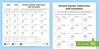 Decimal Number Subtraction with Estimation Differentiated Activity Sheets - ACMNA128, Year 6 Maths, Subtract Decimals, Decimal Subtraction, Take Decimal Numbers, Decimal Number