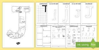 Consolidarea literei J Broșură - alfabetul, alfabetar, litere, sunete, grafisme,Romanian