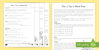Plan a Mardi Gras Trip Activity - Mardi Gras, Fat Tuesday, Shrove Tuesday, Carnival, Lent, Budgeting, Math Skills, Multiplication, Div