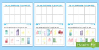 Number Shape Cut and Stick Number Ordering Activity Sheet -  1-10, cut, stick, number, ordering,