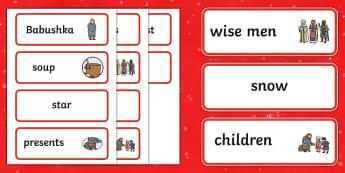 Babushka Word Cards - babushka, word cards, cards, christmas
