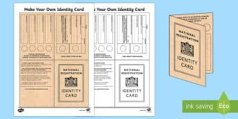 Scotland in the Second World War Identity Card Writing Template-Scottish