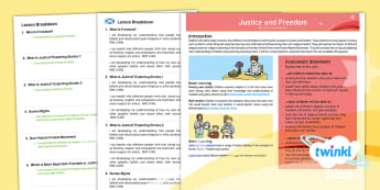 Second Level RME Year 6 Justice and Freedom CfE PlanIt Overview - CfE Planit Overviews, freedom, justice, human rights, religious, non-religious