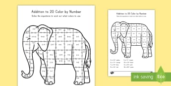 Addition To 20 Activity Sheet - math, addition, color by equation, elephant, art, worksheet