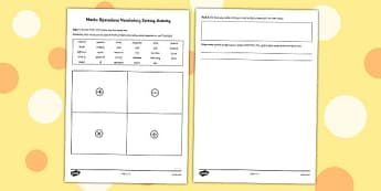 Maths Operations Vocabulary Sorting Activity - matching, comparing, calcualtions, activities, cards, sort, order, fun, short, revision, visual aid, kinaesthetic, irish, ireland, ks2, key stage, upper,
