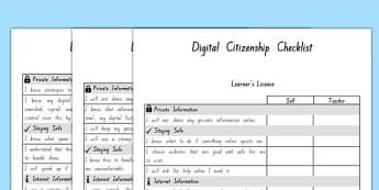 Digital Citizenship Student Checklist