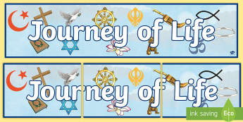 Journey of Life Display Banner - christianity, judaism, sikhism, hinduism, islam, buddhism, atheism, world, religion