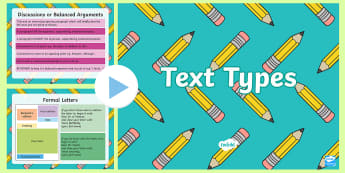 Text Types Guides PowerPoint - English, text types, genres, power point, checklist, narrative, review, persuasive, exposition, repo