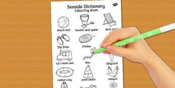 Seaside Dictionary Colouring Sheet - colouring, sheet, seaside