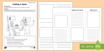 Holiday to Spain Activity Sheet - amazing fact august, KS1, writing, english, brochure, worksheet