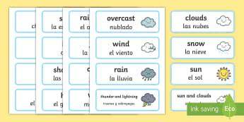 Weather Word Cards English/Spanish - Weather Word Cards - seasons, weather, flashcards, visual aids, waether, WHEATHER, seaons, wetaher,