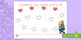 Completa la serie: cuenta de 10 en 10 - Día de la madre, Mother's day in Spain, contar, counting, números, numbers, numeración, numeracy