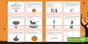 Year 5 Halloween Fractions Maths Challenge Cards English/Mandarin Chinese - Priority Fractions, fractions, year 5, Y5,  fractions of amounts, challenge, maths, numeracy, number