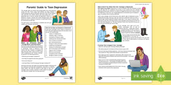Supporting Your Teenager's Mental Health Parent and Carer Information Sheet  - Key Stage 4 Mental Health PSHE depression parent child teenager mood carer guide wellbeing