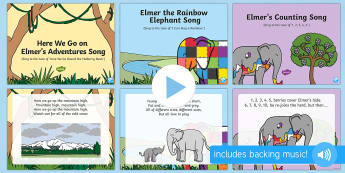 Songs and Rhymes PowerPoints Pack - Elmer, David McKee, colour, patchwork, elephant, wilbur, song, singing, songtime, PowerPoint