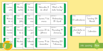 Tarjetas de buscar y emparejar: La fecha Inglés - date, lengua extranjera, inglés, english, day, día, mes, month,Spanish-translation