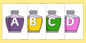 A-Z Alphabet on Potions - A-Z, A4, display, Alphabet frieze, Display letters, Letter posters, A-Z letters, Alphabet flashcards