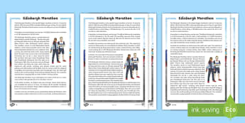 Edinburgh Marathon Differentiated Fact File - CfE Edinburgh Marathon (27th of May), reading comprehension, fact file, topic, event, information, r