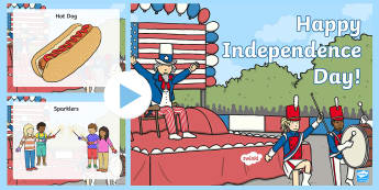 Independence Day Word and Picture PowerPoint - Independence Day, 4th July, July 4th, American Independence, Independence Day PowerPoint, 4th of Jul
