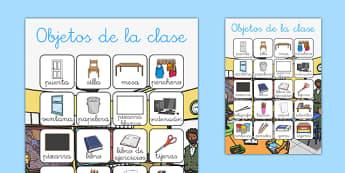 Póster de vocabulario de objetos de la clase - etiquetar, aula, decoración, etiquetas, muebles