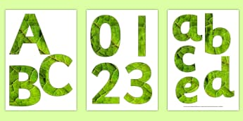 Leaf Texture Display Letters and Numbers Pack - display, lettering