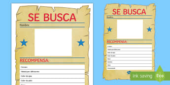 Blank Wanted Display Poster Spanish - Spanish Reading Comprehensions, se busca, wanted, poster, physical description, personality