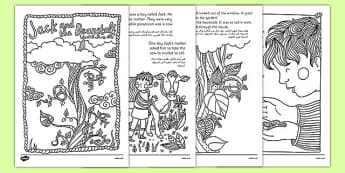 Jack and the Beanstalk Mindfulness Colouring Story Arabic Translation - traditional, tales, Jack, beanstalk, growing, colouring, calm, mindful, stress, Arabic, EAL, bilingual