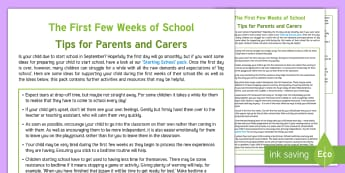 First Few Weeks of School Parent and Carer Information Sheet - starting school, writing, SEN, co-ordination, parents