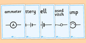 Electric Circuit Symbol Display Posters - Electric, circuit, worksheet, safety, safe, sign, banner, poster, display, power, electricity, battery
