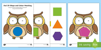 Owl-Themed Colour Matching Activity - EYFS Owlets, Owl Babies, Martin Waddell, shapes, shape matching, maths, ssm, shape space and measure