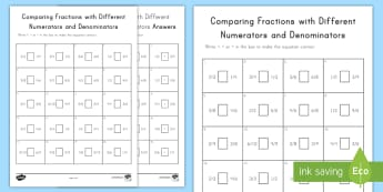 Comparing Fractions with Different Numerators and Denominators Activity Sheet - comparing fractions, unlike denominators, unlike numerators, butterfly method, fractions, fourth gra