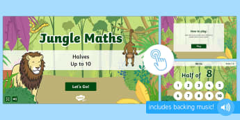 Jungle Maths: Halves up to 10 Game, Twinkl Go, twinkl go, TwinklGo, twinklgo