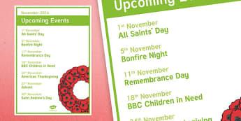 Elderly Care Calendar Planning November 2016 Overview - Elderly Care, Calendar Planning, Care Homes, Activity Co-ordinators, Support,November 2016