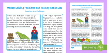 EYFS Maths: Solving Problems and Talking About Size Home Learning Challenges - EYFS, Shape Space and Measure, ELG , mathematics, early years, EYFS planning, adult led, teaching, a