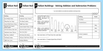 Tallest Buildings Solving Addition and Subtraction Problems Differentiated Activity Sheets - Measurement. measure, length, metres, addition, subtraction, word problems.