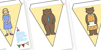 Goldilocks and the Three Bears Display Bunting - goldilocks and the three bear, display bunting, bunting for display, themed bunting, bunting