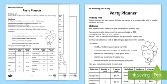 A Party Planner Activity Sheet - Maths, year 5, money, budget, budgeting, addition, subtraction, plan, calculate, add, take away, dec