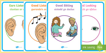 Good Listening Display Posters English/Welsh - Good Listening Display Posters - Good listening, listen, behaviour management, SEN, good sitting, go