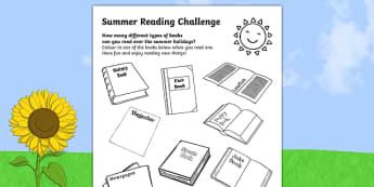 Summer Reading Challenges Activity Sheet, worksheet