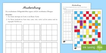 Musterübung Arbeitsblatt: Bilder Muster zum Fortsetzen - Mathematik: Zahlen, Muster, Geometrie, Kl.1/2, maths, numbers, pattern, geometry, EYFS/KS1,German