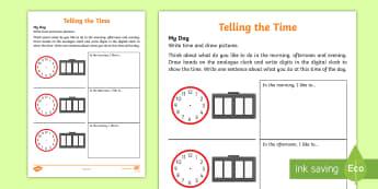 My Day Activity Sheet - maths, clock, time, day, analogue, digital, worksheet, homework