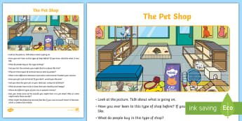 The Pet Shop Oral Language Activity Sheet - Oral Language Activity Sheets, talk and discussion, listening skills, talk about the picture, pet sh