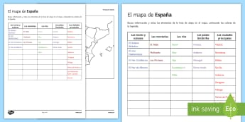 The Map of Spain Research Activity Sheet Spanish  - Spanish, Vocabulary, topics, map, Spain, geography, worksheet, geographical, features, blank, resear