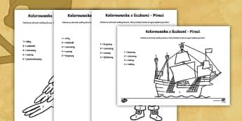Kolorowanki z liczbami Piraci - piraci, pirat, statek, papuga, lato, czaszka, marynarz, pływać, piszczele, piracki, matematyka, li