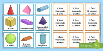 Cartes pour jeu de paires : Les propriétés des formes en 3D - propriétés des formes en 3D, formes en 3D, formes, propriétés, paires, jeu de paires, activité,