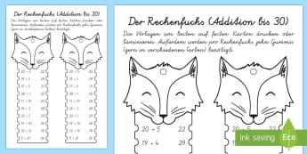 Der Rechenfuchs: Addition bis 30 Mathe Profi- Aufgaben - Mathematik: Zahlen, Rechnen, Addition, maths, numbers, counting, adding, German